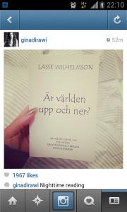 Skärmbild på Gina Dirawis Instagram. 1967 personer gillar inlägget. Dirawi beklagade senare att hon rekommenderat Wilhelmsons bok.