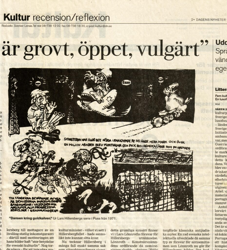 2001 rasade en debatt om Hillersberg och antisemitismen (faksimil från DN).