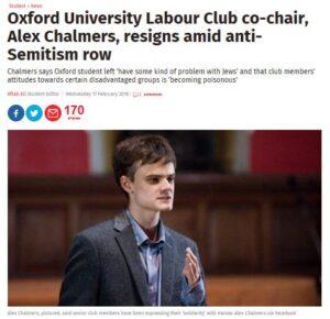 Ordföranden i Laborus studentförening i Oxford lämnade i protest. Skärmavbild från Independent.