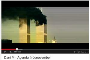 """""""Mörka delar i historien dom försöker dölja"""" rappar Dani M i sin musikvideo Agenda samtidigt som bilder visas på terrorattacken mot World Trade Center 2001. (Skärmbild)"""