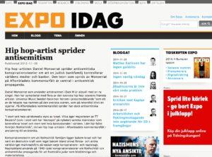 Expo skrev om Dani M:s antisemitism 2012.