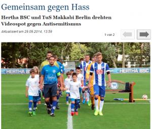 """""""Tillsammans mot hatet"""". Jüdische Allgemeine om Herthas och Makkabis kampanj mot antisemitism (skärmbild)."""