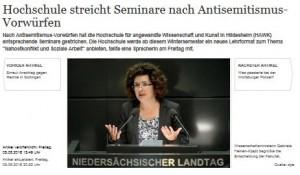 """""""Högskola lägger ner kurs efter anklagelser om antisemitism"""". Hannoversche Allgemeine 5/8 2016."""