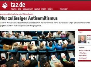 """Dagstidningen TAZ skrev den 1/8 om """"antijudisk propaganda"""" i undervisningen vid Högskolan i Hildesheim"""