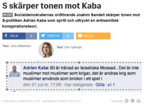 Socialdemokraterna i Malmö kritiserade S-politikern Adrian Kabas konspirationsteorier om Islamiska staten som ett israeliskt verktyg, men lät honom fortsätta som kommunpolitiker.