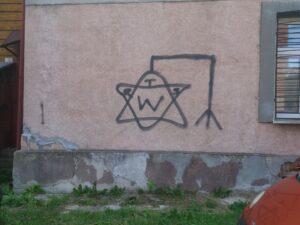 Antisemitiskt klotter i Chelm. Foto: Mathan Ravid
