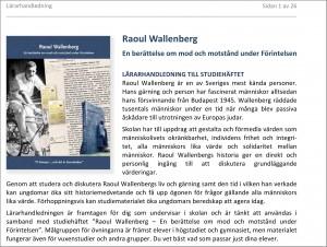 Lärarhandledning till studiehäftet om Raoul Wallenberg