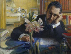 Oscar Levertin, 1862-1906, porträtterad av Carl Larsson 1906.