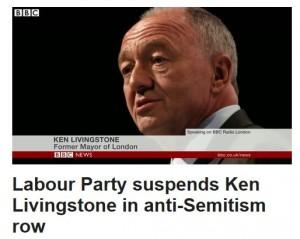 """Ken Livingstone stängdes av från Labour efter att bland annat ha påstått att """"Hitler stödde sionismen"""". Skärmavbild från BBC."""