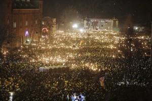 Uppemot 40 000 samlades i Köpenhamn för att hedra terrorns offer. Foto: Asger Ladefoged, Scanpix/TT