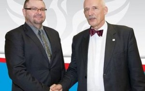 Kongressen för nya högerns EU-parlamentariker Robert Iwaszkiewicz och Janusz Korwin-Mikke. Foto: mowimyjak.pl
