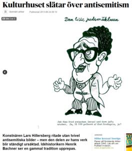 Acceptansen för Hillersbergs antijudiska bilder uppmärksammades i DN 2013 (skärmbild).