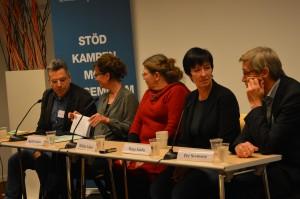 Stéphane Bruchfeld, Ingrid Lomfors, Heléne Lööw, Mona Sahlin, Per Svensson. Foto: Nafih Mawlod