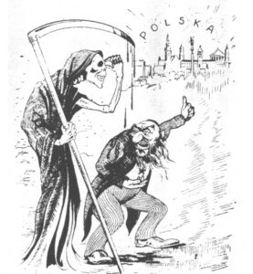 Föreställningar om judiska sammansvärjningar har en lång historia i Polen. Bilden, som framställer kommunismen som en judisk konspiration, är från 1937.