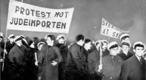 Protestmöte på Östermalmstorg i Stockholm i februari 1939, arrangerat av nazistiska SSS.