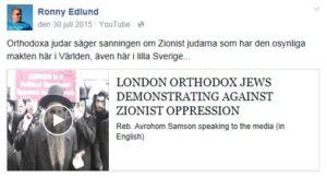 SD-politikern Ronny Edlunds Facebooksida.