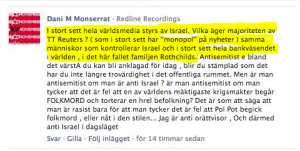 Dani M på Aftonbladets Facebook 2012.