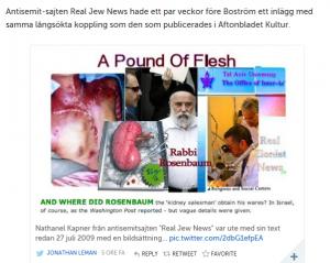 Den antisemitiska sajten Real Jew News (skärmklipp från Leman)