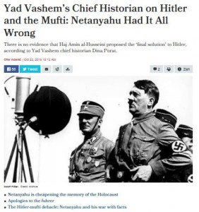Netanyahus uttalande har mött stark kritik från bl a israeliska historiker (skärmklipp från Haaretz)