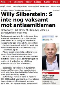 Willy Silberstein i Aftonbladet 9/4 2013 (skärmbild).