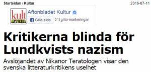 Magnus Ullén angrep kritikerkåren. Aftonbladet 11/7.