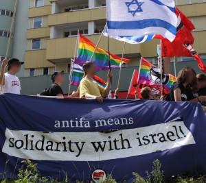 Vänsterradikala Antifa demonstrerar: För delar av den tyska vänstern går antifascism och stöd för Israel hand i hand. Foto: flickr.com/pm_cheung