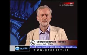 Corbyn som programledare i iranska Press TV.