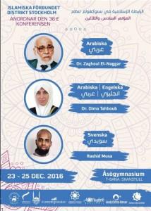 Islamiska förbundet presenterar föreläsare på konferensen i december 2016, däribland Zaghloul El-Naggar. (Skärmavbild.)