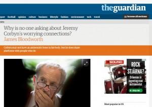 Brittisk debatt om Corbyns vänskap med extremister och antisemiter. Skärmklipp från The Guardian.