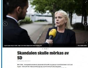 Skärmavbild från Expressens artikel om Ankar, Winberg och SD 8/6 2016.